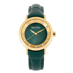 Bertha Cecelia Leather-Band Watch - Green  - BTHBR7503