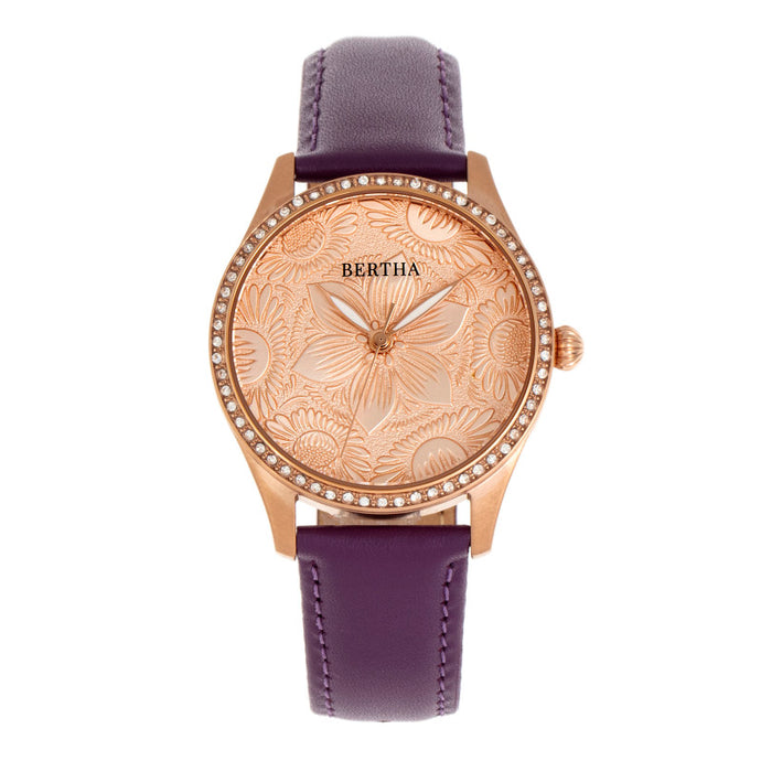 Bertha Dixie Floral Engraved Leather-Band Watch - BTHBR9905