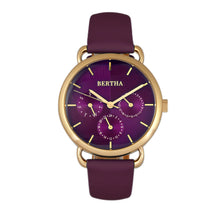 Load image into Gallery viewer, Bertha Gwen Leather-Band Watch w/Day/Date - Purple - BTHBR8305