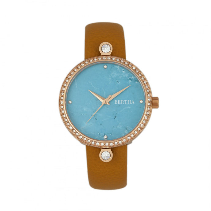Bertha Frances Marble Dial Leather-Band Watch - BTHBR6405