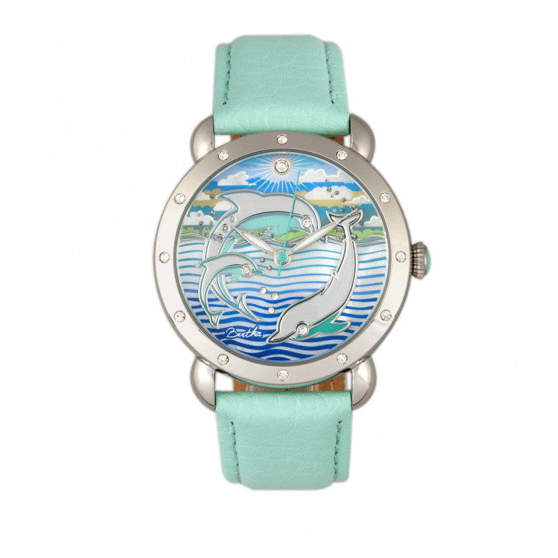 Bertha Estella MOP Leather-Band Ladies Watch