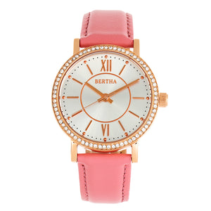 Bertha Lydia Leather-Band Watch - Pink - BTHBR9505