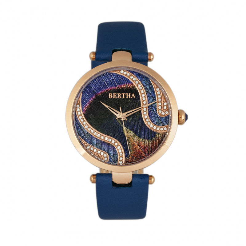 Bertha Trisha Leather-Band Watch w/Swarovski Crystals