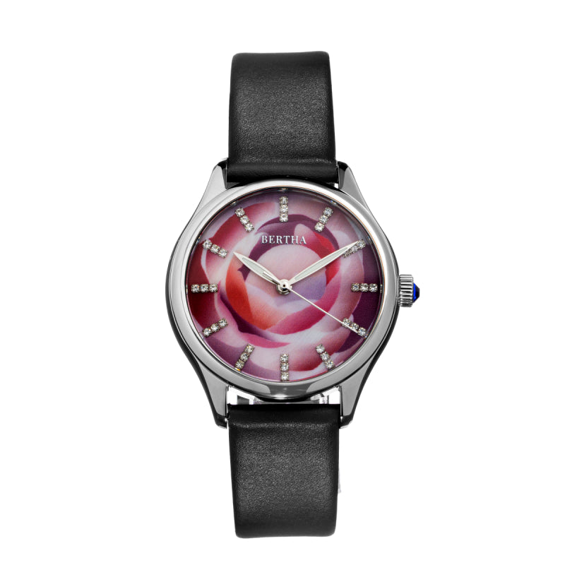 Bertha Georgiana Mother-Of-Pearl Leather-Band Watch