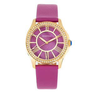 Bertha Donna Mother-of-Pearl Leather-Band Watch - Purple - BTHBR9804