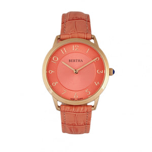 Bertha Abby Swiss Leather-Band Watch - Rose Gold/Coral - BTHBR6807