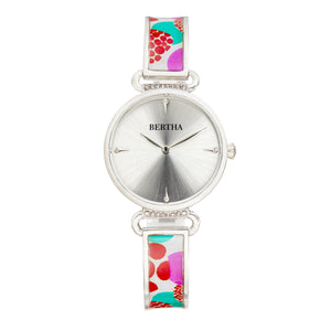Bertha Katherine Enamel-Designed Bracelet Watch - White  - BTHBS1301