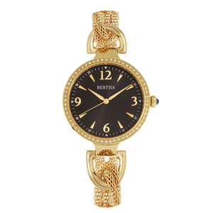 Bertha Sarah Chain-Link Watch w/Hanging Charm - Gold/Black - BTHBR8903