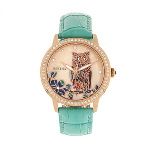 Bertha Madeline MOP Leather-Band Watch - Turquoise - BTHBR7108
