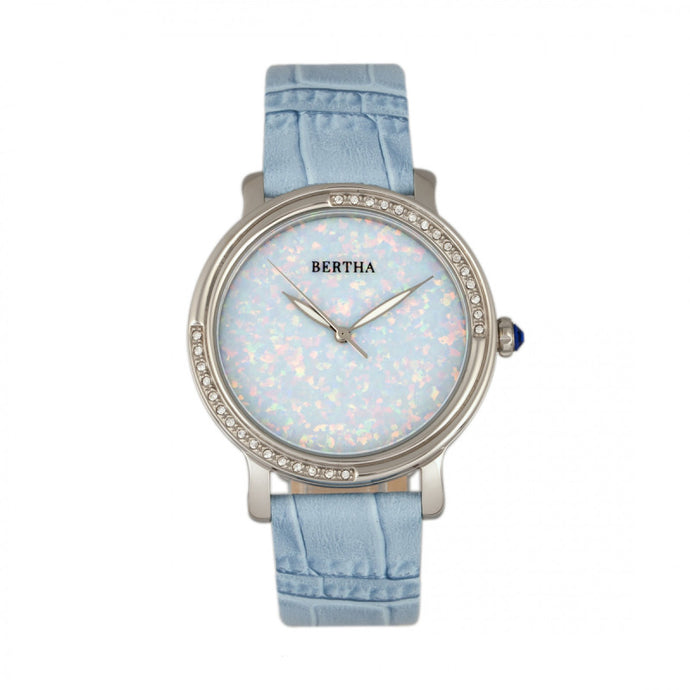 Bertha Courtney Opal Dial Leather-Band Watch - BTHBR7902