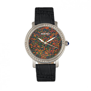 Bertha Courtney Opal Dial Leather-Band Watch - Black - BTHBR7901