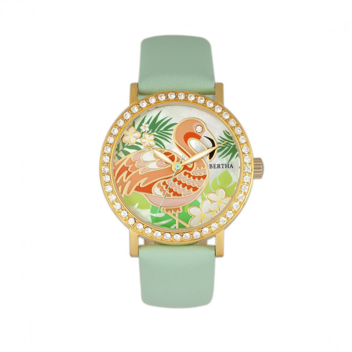 Bertha Luna Mother-Of-Pearl Leather-Band Watch - BTHBR7704