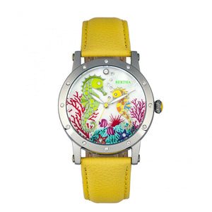 Bertha Morgan MOP Leather-Band Ladies Watch - Silver/Yellow - BTHBR4202