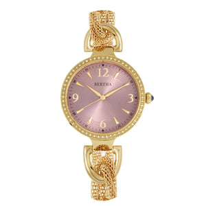 Bertha Sarah Chain-Link Watch w/Hanging Charm - Gold/Mauve - BTHBR8904