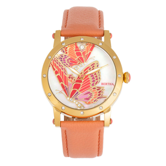 Bertha Isabella MOP Leather-Band Ladies Watch - BTHBR4303