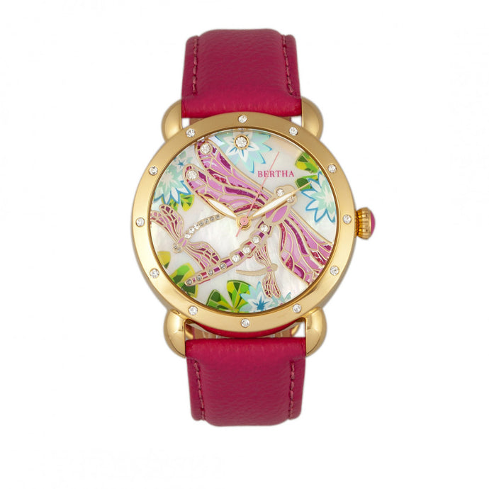 Bertha Jennifer MOP Leather-Band Ladies Watch - BTHBR5004