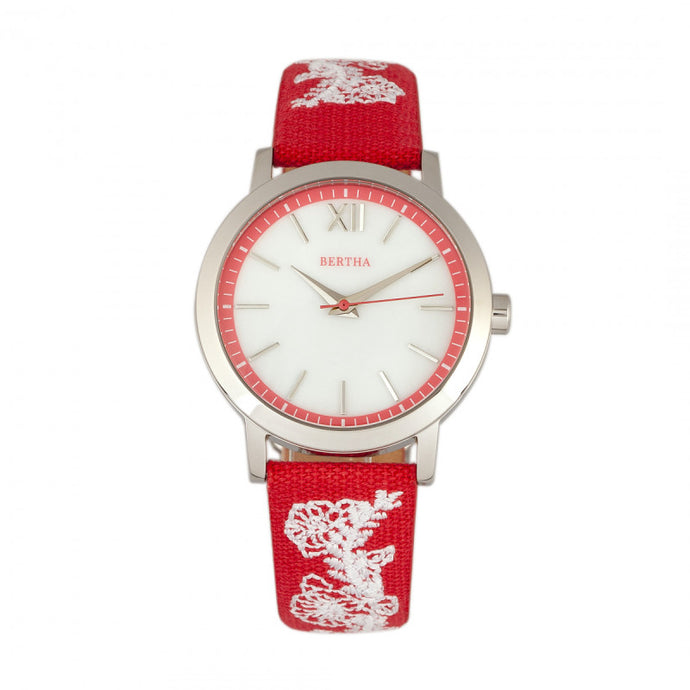 Bertha Penelope MOP Nylon-Overlaid Leather-Band Watch - BTHBR7301