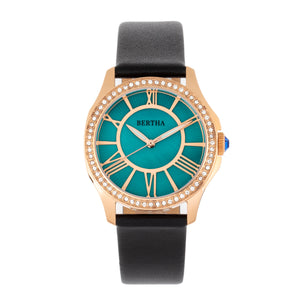 Bertha Donna Mother-of-Pearl Leather-Band Watch - Turquoise - BTHBR9806