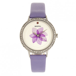Bertha Delilah Leather-Band Watch - Silver/Lavender - BTHBR8602