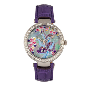 Bertha Mia Mother-Of-Pearl Leather-Band Watch - Purple - BTHBR7402
