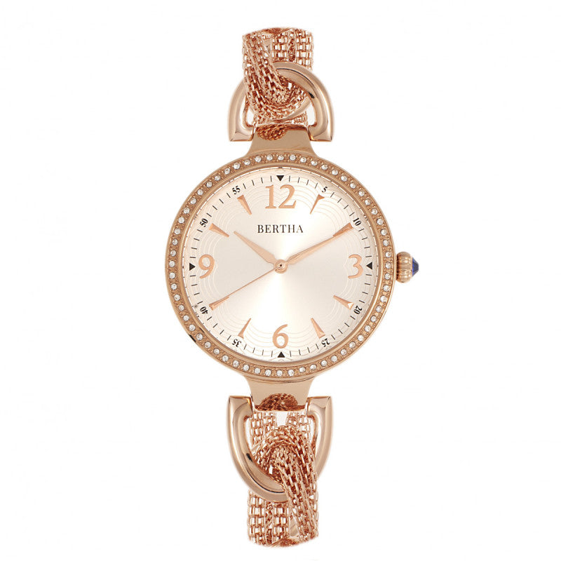 Bertha Sarah Chain-Link Watch w/Hanging Charm