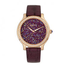 Load image into Gallery viewer, Bertha Cora Crystal-Encrusted Leather-Band Watch - Plum - BTHBR6005