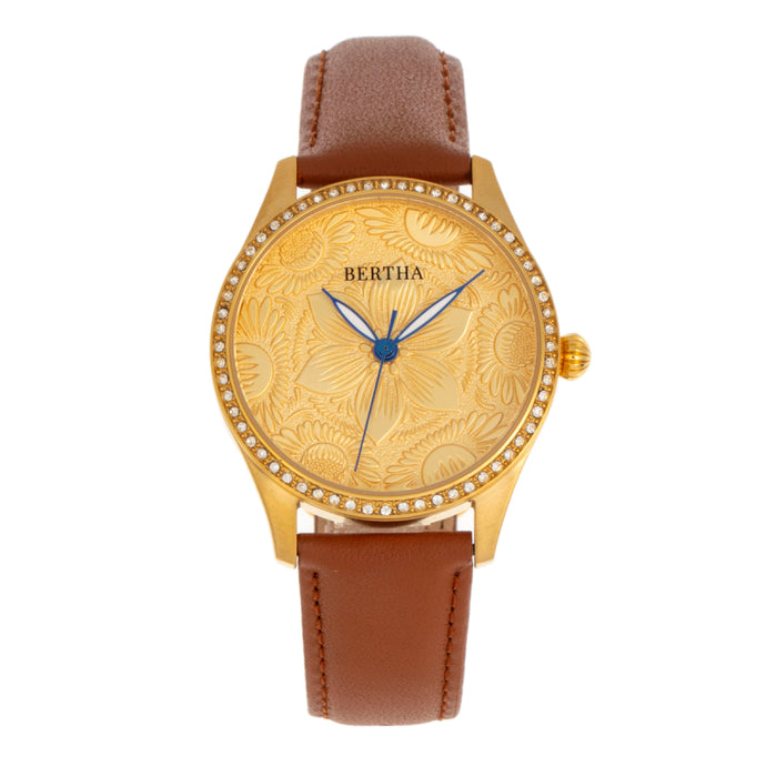 Bertha Dixie Floral Engraved Leather-Band Watch - BTHBR9903