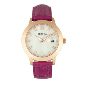 Bertha Eden Mother-Of-Pearl Leather-Band Watch w/Date - Fuchsia/Rose Gold - BTHBR6507