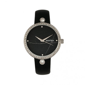Bertha Frances Marble Dial Leather-Band Watch - Black - BTHBR6401