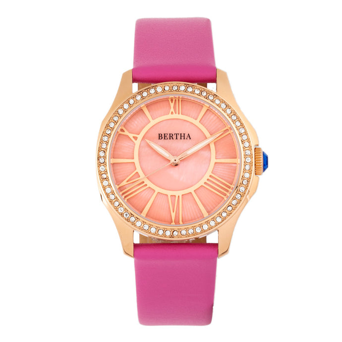 Bertha Donna Mother-of-Pearl Leather-Band Watch - BTHBR9805