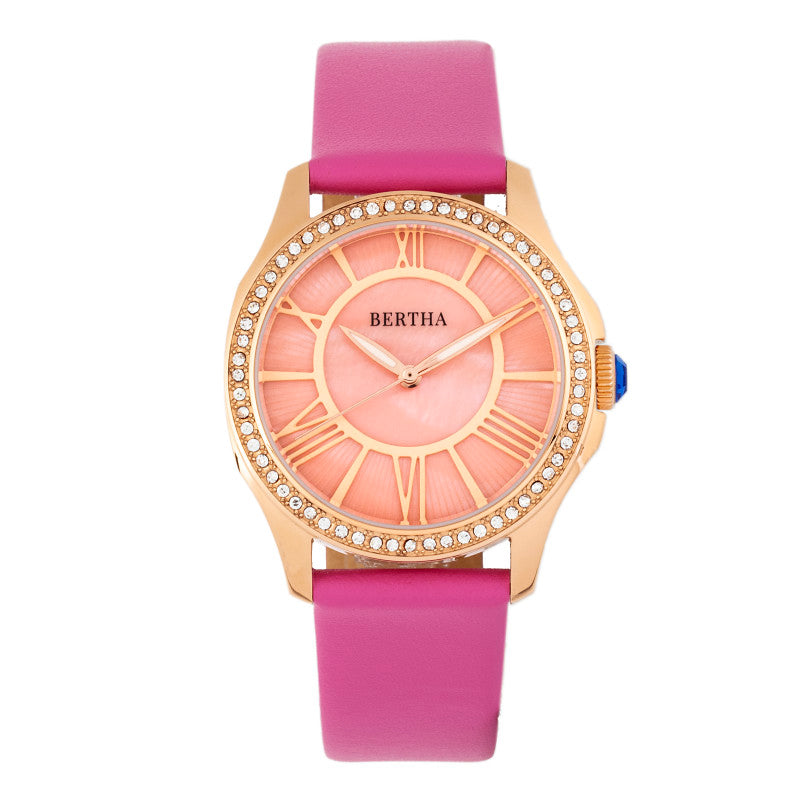 Bertha Donna Mother-of-Pearl Leather-Band Watch