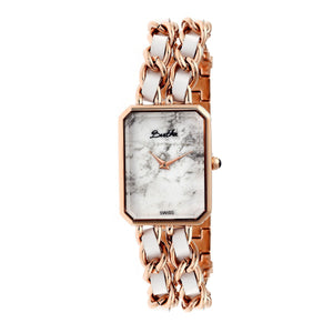 Bertha Eleanor Ladies Swiss Bracelet Watch - Rose Gold/White - BTHBR5905