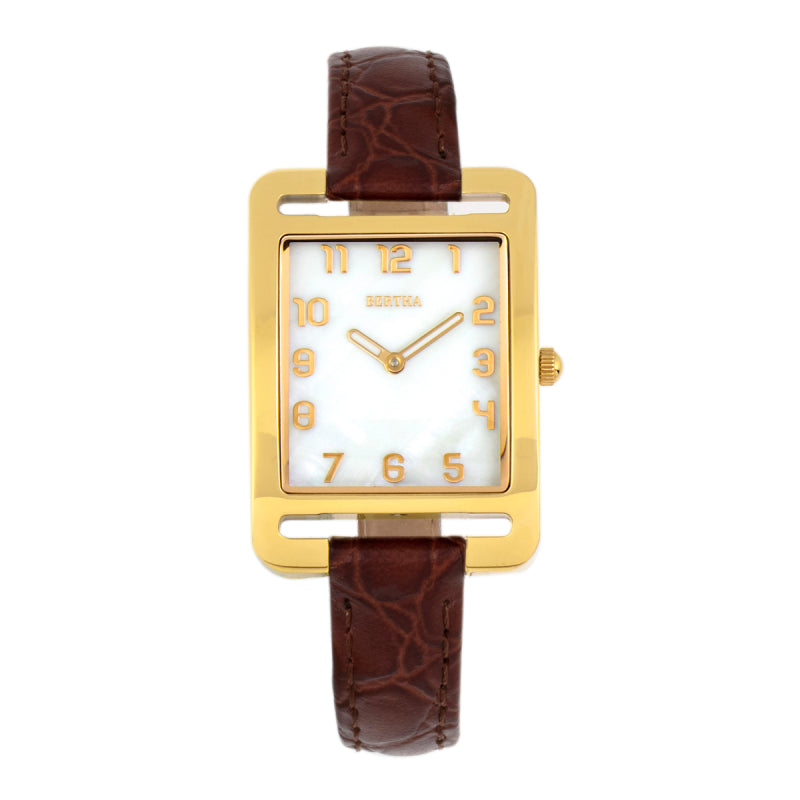 Bertha Marisol Swiss MOP Leather-Band Watch