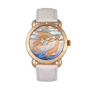 Bertha Estella MOP Leather-Band Ladies Watch - Rose Gold/White - BTHBR5105