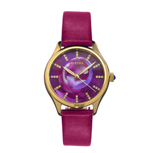Bertha Georgiana Mother-Of-Pearl Leather-Band Watch - Gold/Magenta - BTHBS1103