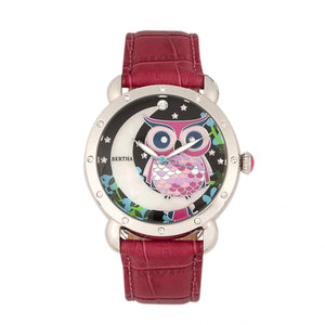 Bertha Ashley MOP Leather-Band Ladies Watch - Silver/Red - BTHBR3001
