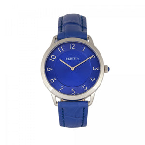 Bertha Abby Swiss Leather-Band Watch - Silver/Blue - BTHBR6805