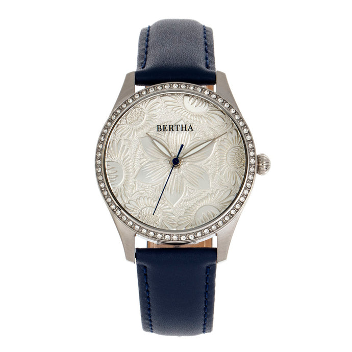 Bertha Dixie Floral Engraved Leather-Band Watch - BTHBR9902