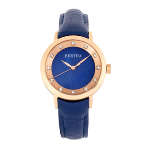 Bertha Cecelia Leather-Band Watch - Blue  - BTHBR7505