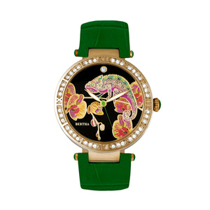 Bertha Camilla Mother-Of-Pearl Leather-Band Watch - Green - BTHBR6206