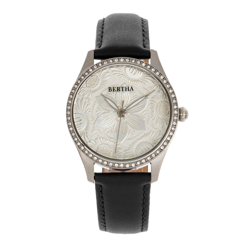 Bertha Dixie Floral Engraved Leather-Band Watch