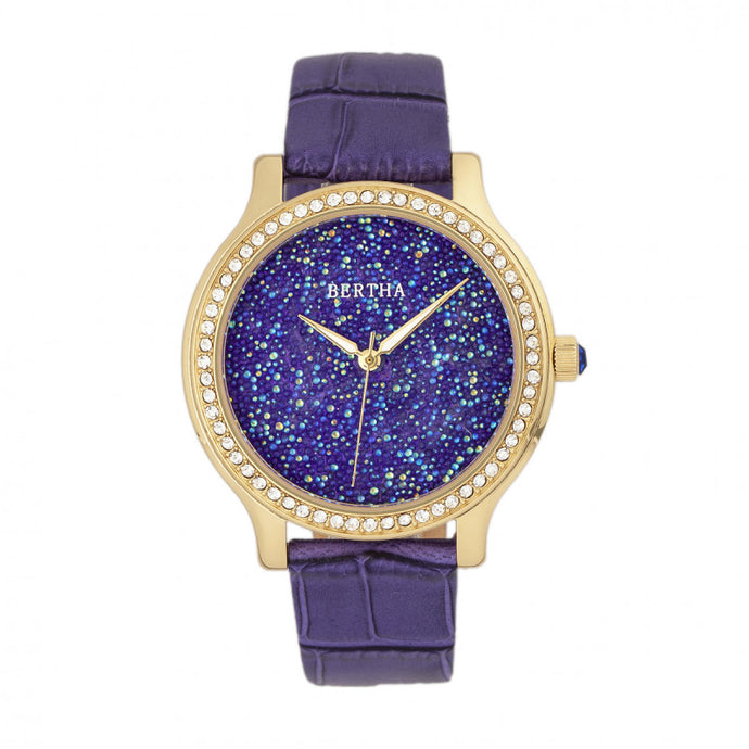 Bertha Cora Crystal-Encrusted Leather-Band Watch - BTHBR6003
