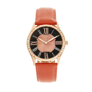 Bertha Sadie Mother-of-Pearl Leather-Band Watch - Coral - BTHBR8406