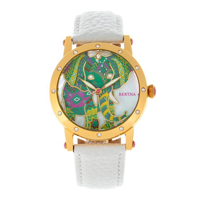 Bertha Betsy MOP Leather-Band Ladies Watch - BTHBR5703