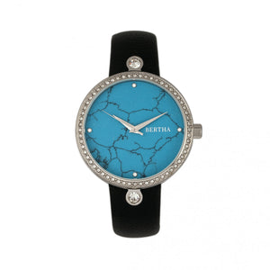 Bertha Frances Marble Dial Leather-Band Watch - Black/Cerulean - BTHBR6402