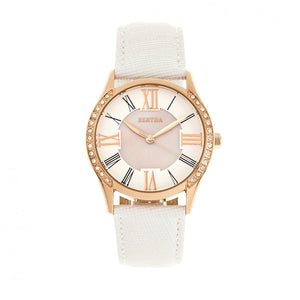 Bertha Sadie Mother-of-Pearl Leather-Band Watch - White - BTHBR8404