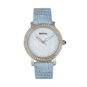 Bertha Courtney Opal Dial Leather-Band Watch - Powder Blue - BTHBR7902