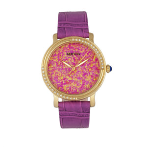 Bertha Courtney Opal Dial Leather-Band Watch