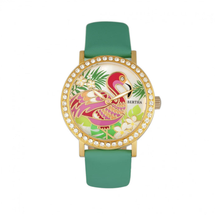 Bertha Luna Mother-Of-Pearl Leather-Band Watch - BTHBR7703