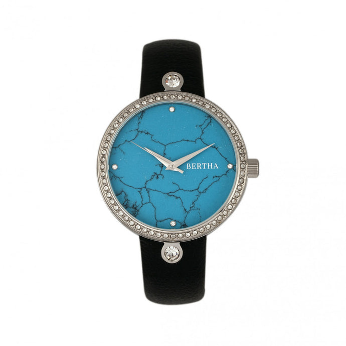 Bertha Frances Marble Dial Leather-Band Watch - BTHBR6402